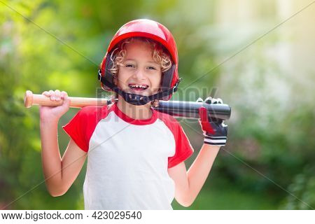 Kids Play Baseball. Child With Bat And Ball.