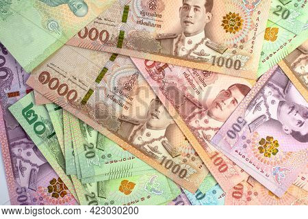 Money Banknote Thai Baht For Background, Savings Money And Financial Business Concept