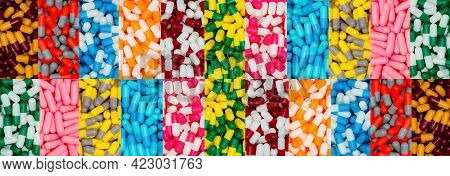 Top View Of Multi-color Capsule Pills. Pharmaceutical Industry. Many Antibiotics, Painkillers, Suppl