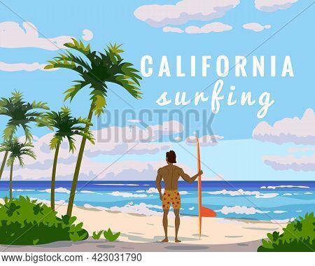 California Surfing. Tropical Beach Summer Resort, Seashore Sand, Palms, Waves. Surfer Van With Surfb