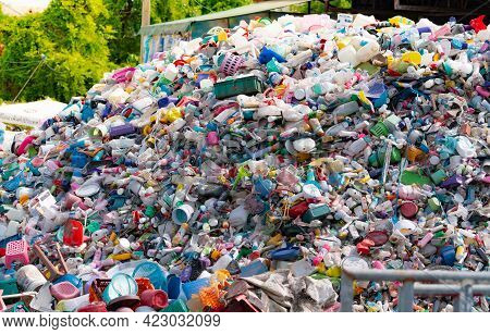 Bangkok, Thailand-may 15, 2021 : Pile Of Plastic Bottle. Plastic Bottle Waste For Recycle In Recycli