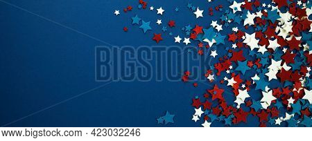 4th Of July American Independence Day Stars Decorations On Blue Background. Flat Lay, Top View.