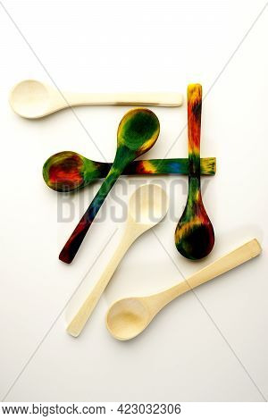 Colourful Hand Dyed Wooden Spoons Dyed With Food Colouring.