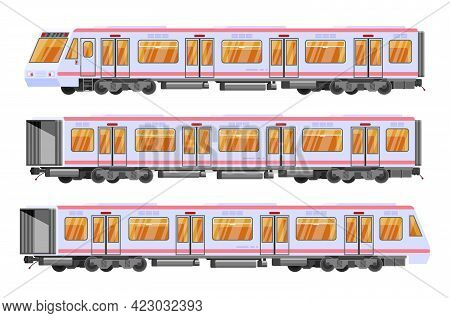 Detailed Underground Train Car Set Isolated. Subway Railway Car On White. Modern Urban Metro. Passen
