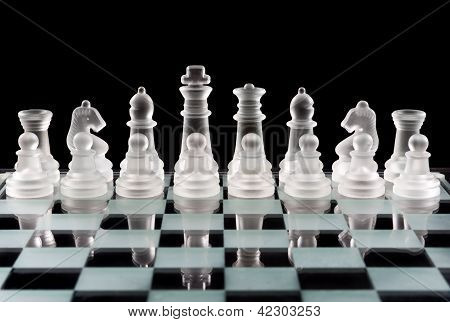 Set Of Glass Chess Pieces