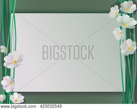 Composition Of White Cosmos Flowers And Stems Over Green Background And Sheet Of Paper For Copy Spac
