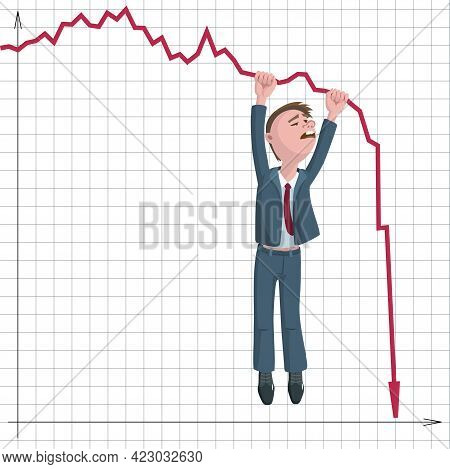 Businessman Or Broker Falls Down And Red Arrows Of Stock Market Falling Down. Vector Illustration Of