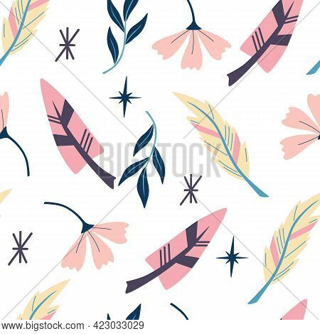 Seamless Pattern With Feathers. Wallpaper In Boho Style. Indian Aztec Geometric Feathers  And Flower