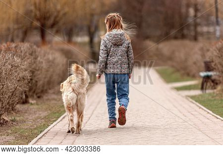 Preteen girl walking with golden retriever dog in the square in spring time