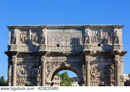 4th Century Arch Of Constantine, (arco Di Costantino) Next To Colosseum, Details Of The Attic, Rome,
