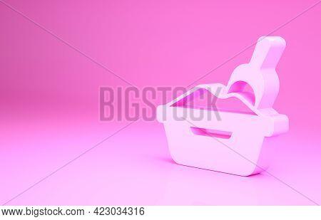 Pink Cat Litter Tray With Shovel Icon Isolated On Pink Background. Sandbox Cat With Shovel. Minimali