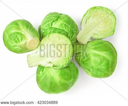 Brussel Sprouts Heap Isolated On White Background. Fresh Raw  Brussels Cabbage Top View