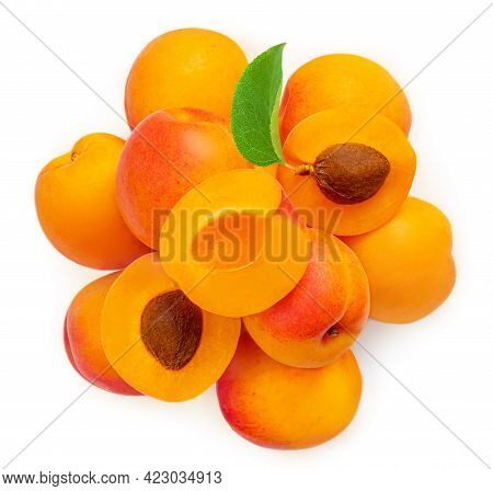 Fresh Apricot Fruits. Apricot Isolated On White Background. Sweet Apricots With Leafs Closeup. Yop V