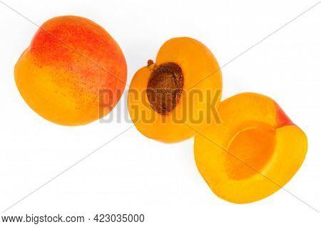 Fresh Apricot Fruits. Apricot Isolated On White Background.