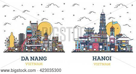 Outline Hanoi and Da Nang Vietnam City Skyline Set with Colored Historic Buildings Isolated on White. Cityscape with Landmarks.