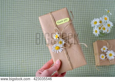 Thank You Or Thanks Greeting Card With Spring Flowers Decorated As A Gift. International Thank You D