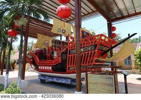 Hoi An, Vietnam, May 23, 2021: Boat Commemorating The Marriage Of Princess Ngoc Hoa To The Japanese