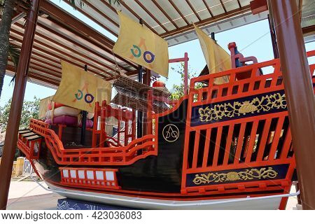 Hoi An, Vietnam, May 23, 2021: Boat Decorated In Red And Black Colors Commemorating The Marriage Of