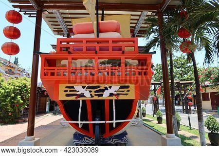 Hoi An, Vietnam, May 23, 2021: Three-way View Of The Commemorative Ship Of Princess Ngoc Hoa's Marri