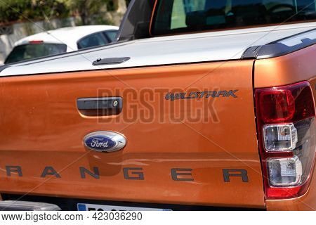 Bordeaux , Aquitaine France - 06 06 2021 : Ford Ranger Wildtrack Logo Sign And Text Brand On Rear Am
