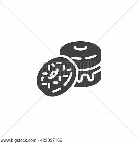 Glazed Donut Vector Icon. Filled Flat Sign For Mobile Concept And Web Design. Sprinkled Donut Glyph
