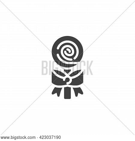 Swirl Lollipop Vector Icon. Filled Flat Sign For Mobile Concept And Web Design. Swirl Candy Stick Wi