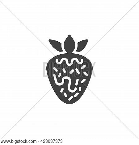 Strawberry With Chocolate Vector Icon. Filled Flat Sign For Mobile Concept And Web Design. Strawberr