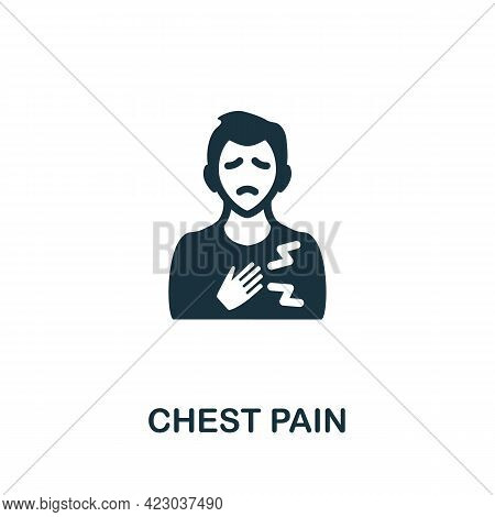 Chest Pain Icon. Monochrome Simple Element From Coronavirus Symptoms Collection. Creative Chest Pain