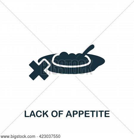Lack Of Appetite Icon. Monochrome Simple Element From Coronavirus Symptoms Collection. Creative Lack
