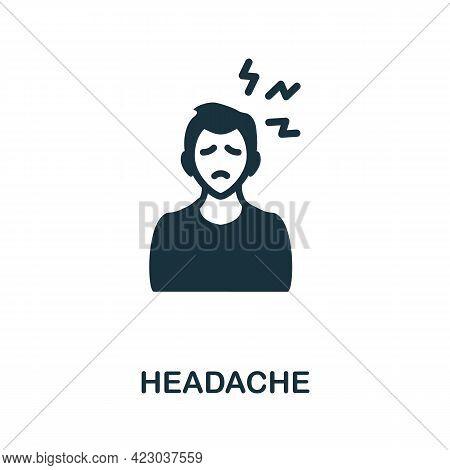 Headache Icon. Monochrome Simple Element From Coronavirus Symptoms Collection. Creative Headache Ico