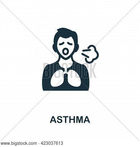Asthma Icon. Monochrome Simple Element From Coronavirus Symptoms Collection. Creative Asthma Icon Fo
