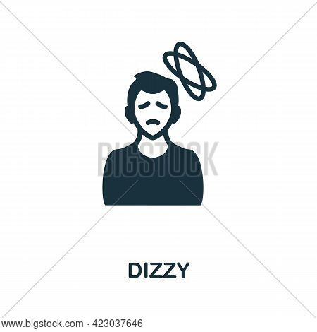 Dizzy Icon. Monochrome Simple Element From Coronavirus Symptoms Collection. Creative Dizzy Icon For