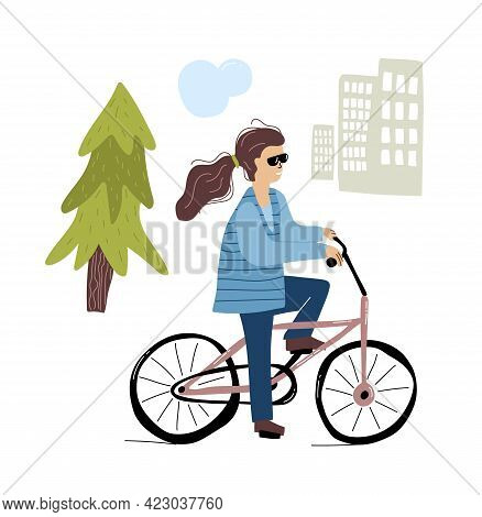 Woman Ride Bicycle In The City. People Using Eco Transport. Flat Design. Vector Illustration