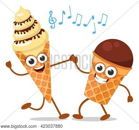 Ice Cream Waffle Cone And Waffle Cup Are Dancing On A White Background. The Character