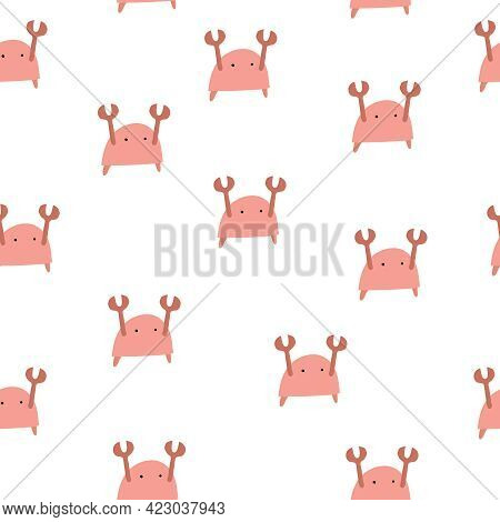 Seamless Pattern With Cartoon Crab. Flat Style Vector. Hand Drawing For Kids.  Baby Design For Fabri