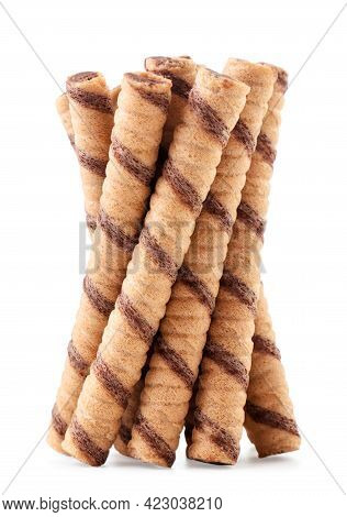 A Bunch Of Wafer Rolls Close-up On A White Background. Isolated