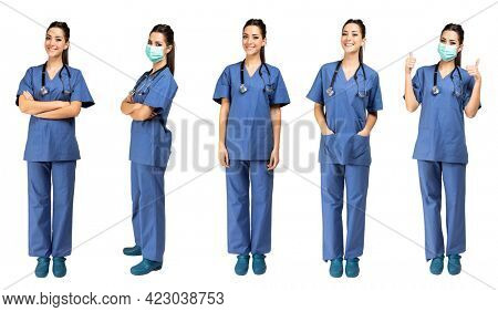 Collage of five different nurse portraits isolated on white, full length wearing a mask due to coronavirus covid 19 pandemic