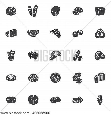 Types Of Bread Vector Icons Set, Modern Solid Symbol Collection, Filled Style Pictogram Pack. Signs,