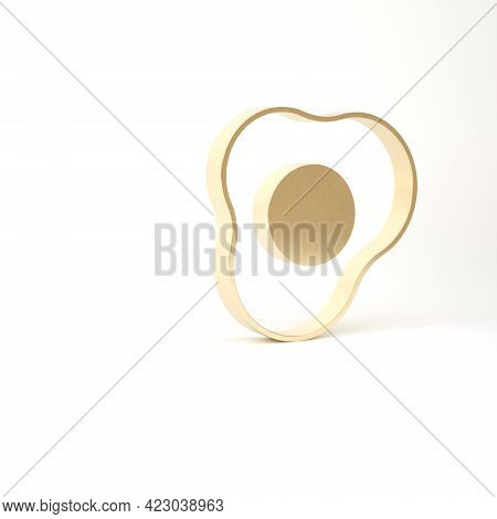Gold Scrambled Eggs Icon Isolated On White Background. Home Cooked Food, Fried Egg, Healthy Breakfas