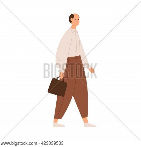 Mature Man Going To Work, Wearing Pants And Shirt, Holding Briefcase. Old-fashioned Bald Clerk Walki