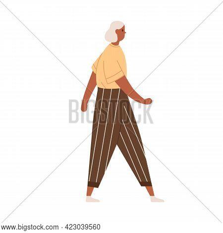 Senior Gray-haired Woman Walking In Modern Casual Clothing. Profile Of Elderly Grey Dark-skinned Fem