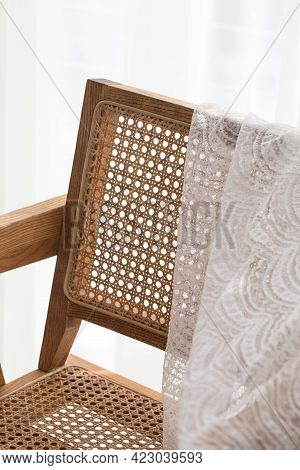 White Background Wooden Chair With Lace Fabric
