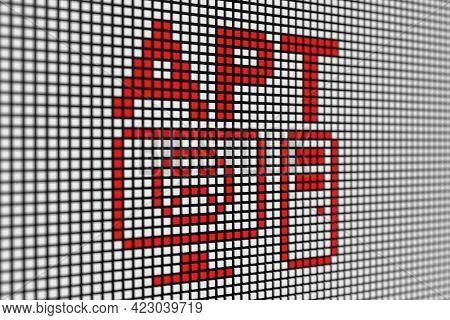 Apt Text Scoreboard Blurred Background 3d Illustration