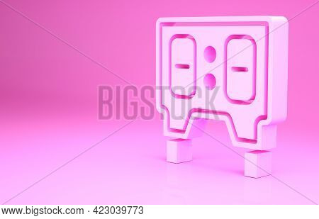 Pink Sport Baseball Mechanical Scoreboard And Result Display Icon Isolated On Pink Background. Minim