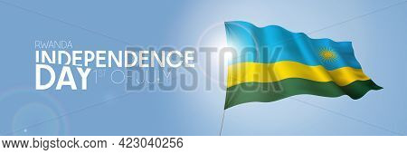 Rwanda Happy Independence Day Greeting Card, Banner With Template Text Vector Illustration