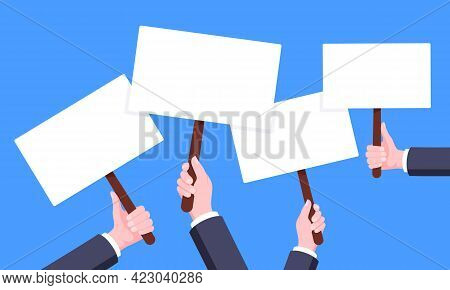 Hand Hold Blank Protest Banner Plate Signs Set Business Concept Flat Style Design Vector Illustratio