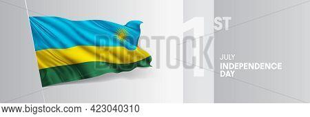 Rwanda Happy Independence Day Greeting Card, Banner Vector Illustration