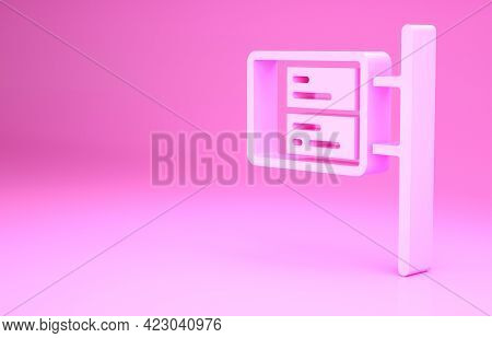 Pink Public Transport Board Icon Isolated On Pink Background. Mechanical Scoreboard. Info Of Flight