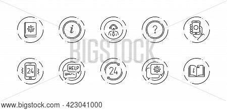 10 In 1 Vector Icons Set Related To Help And Support Theme. Black Lineart Vector Icons Isolated On B