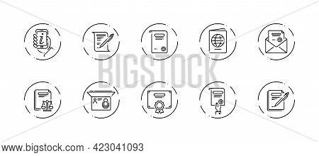 10 In 1 Vector Icons Set Related To Legal Document Theme. Black Lineart Vector Icons Isolated On Bac